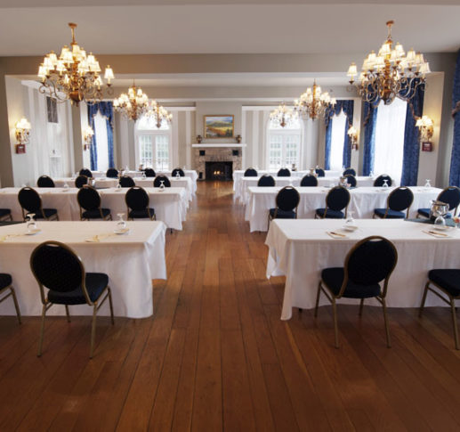 mimslyn inn blue ridge meeting room set with rows of tables and chairs