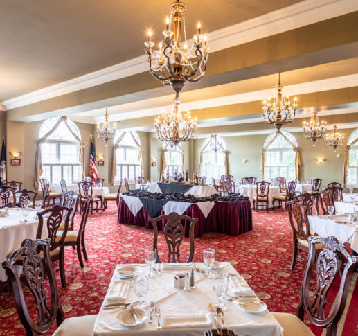 mimslyn inn dining area wih square tables
