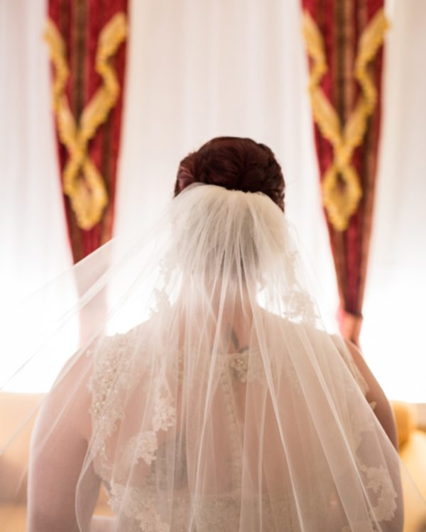 Bride from the back showing her veil