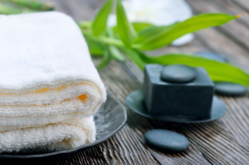 spa towels and hot rocks