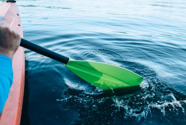 kayak paddle in the water
