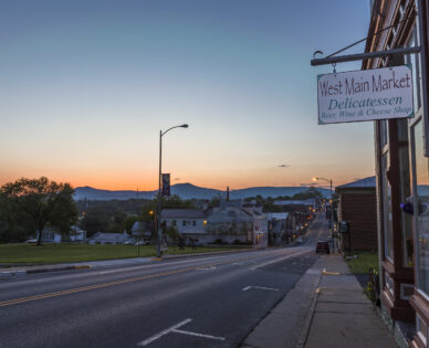 west main market delicatessen sign and view of main street in luray