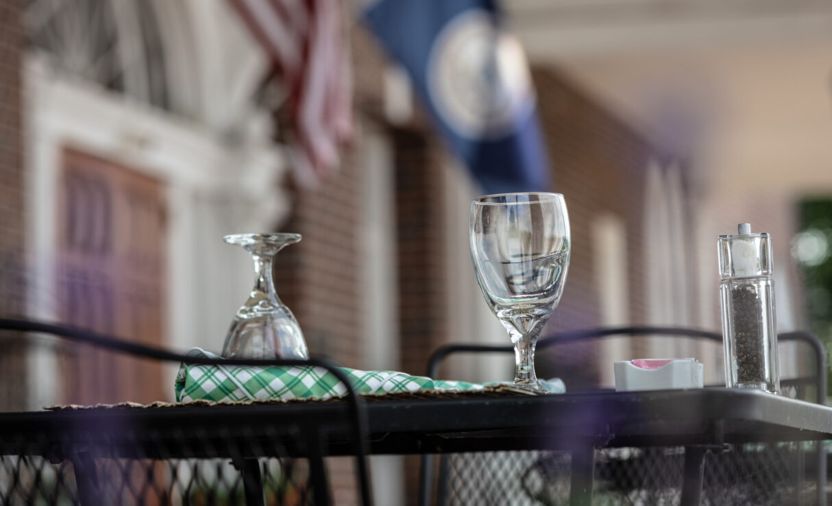 mimslyn inn front porch table with water glasses